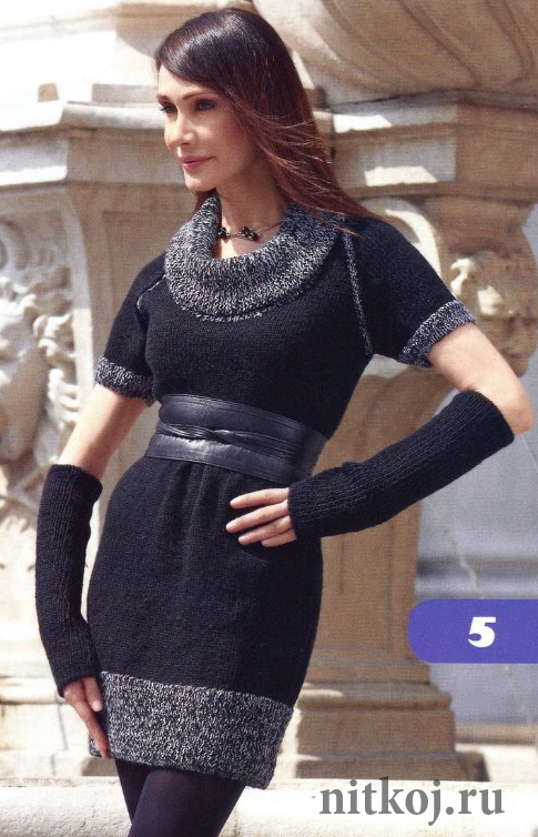 00a5d96df82a2fb Теплое вязаное платье с митенками » Ниткой - вязаные вещи для вашего ...