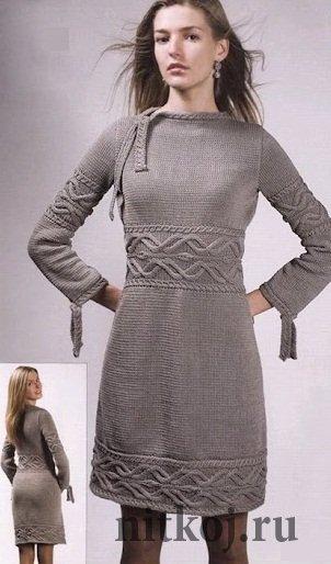 Платье вязанное спицами схема