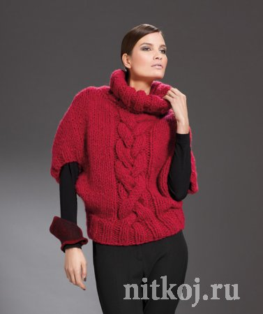 Пуловер спицами из <em>красивый снуд спицами схема вязания</em> толстой <em>схема</em> пряжи