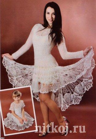 Ажурное платье крючком из мохера