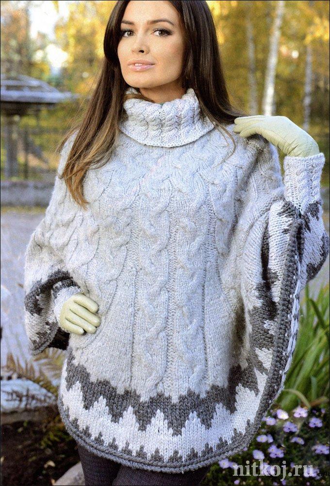 Вязаное пончо спицами с косами