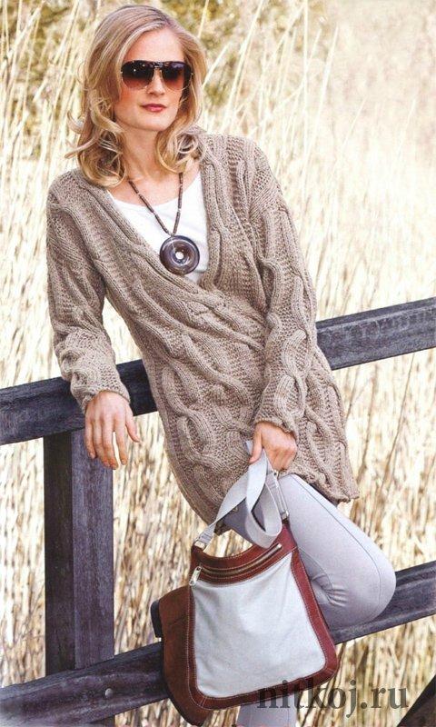 длинный пуловер спицами с косами ниткой вязаные вещи для вашего