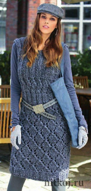 eb5922e301953f0 Теплое платье спицами с ажурными узорами » Ниткой - вязаные вещи для ...