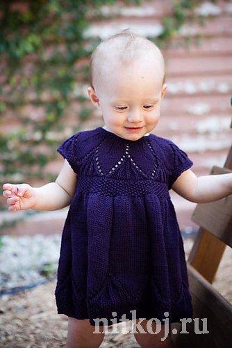 Платье вязаное девочке 1 года спицами