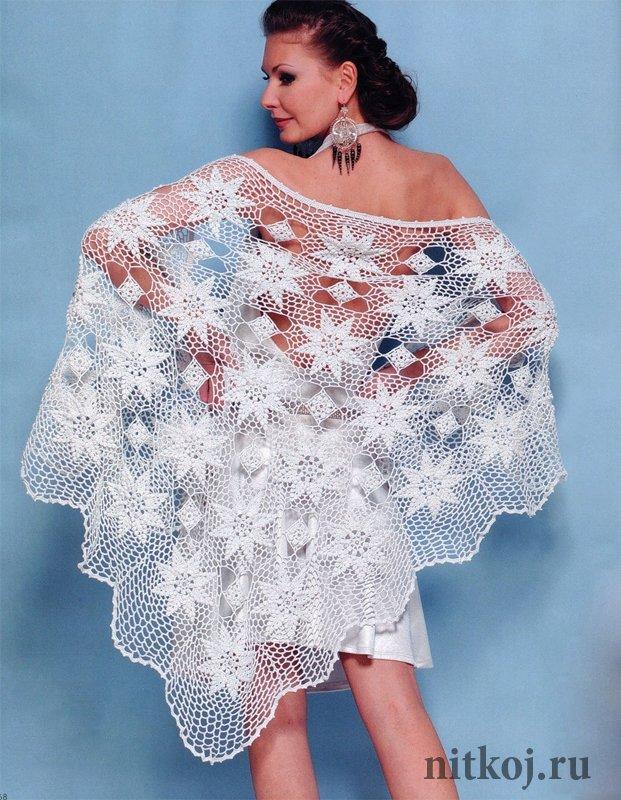 вязание ажурных шалей спицами