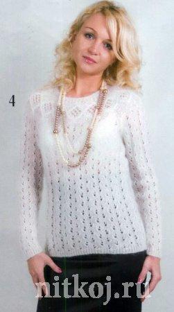 Нежный мохеровый пуловер спицами