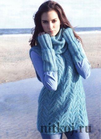 Вязание безрукавки, снуда и митенок