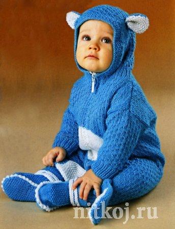 Детский комплект спицами «Мишка на Севере»