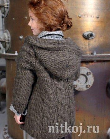Пальто спицами для девочек