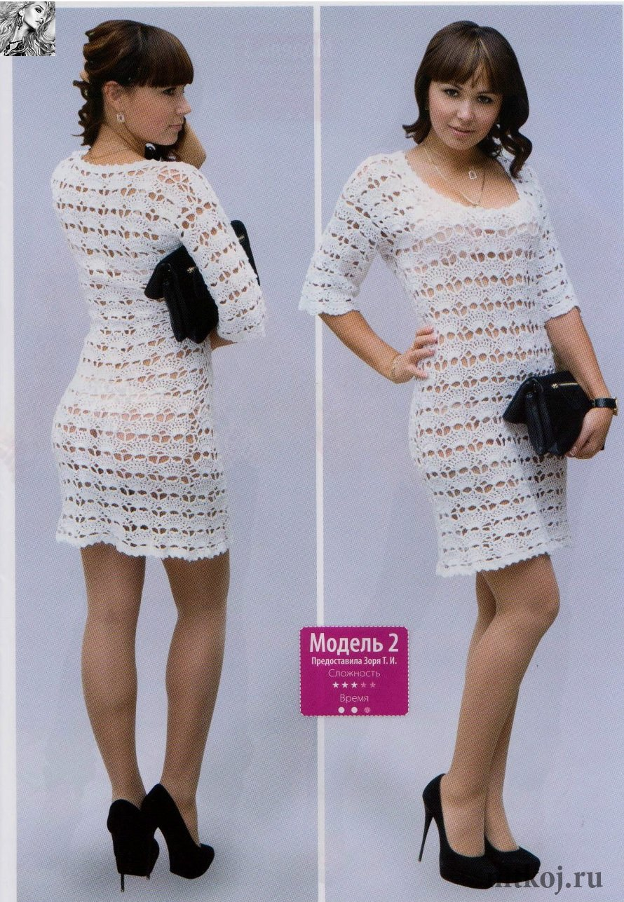 Платье крючком ракушки схема