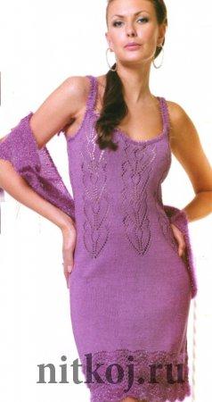 Фиолетовое платье спицами