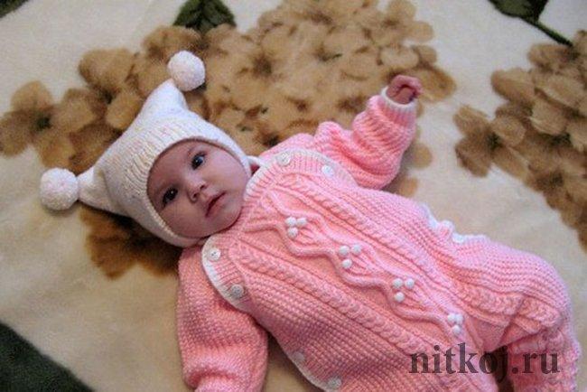 Комбинезон для новорожденных вязания