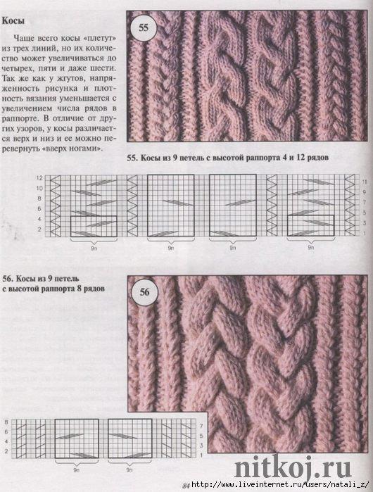 косы спицами из трех линий ниткой вязаные вещи для вашего дома