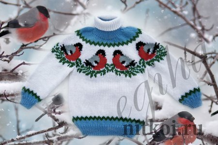 """Детский свитер """"Снегири на снегу"""""""