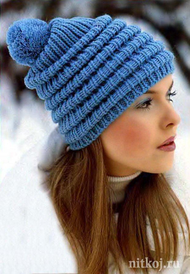 Женская шапка спицами Женская