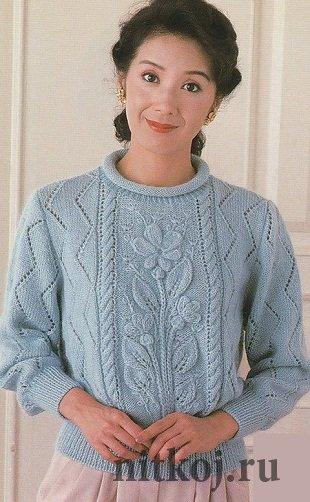 Вязание пуловеров с цветами 175