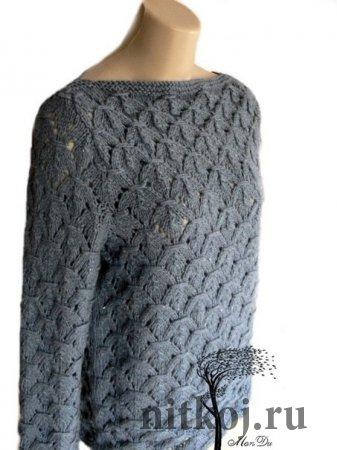 Шикарный пуловер спицами из Mon Du