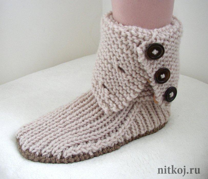 Вязание носки две спицами