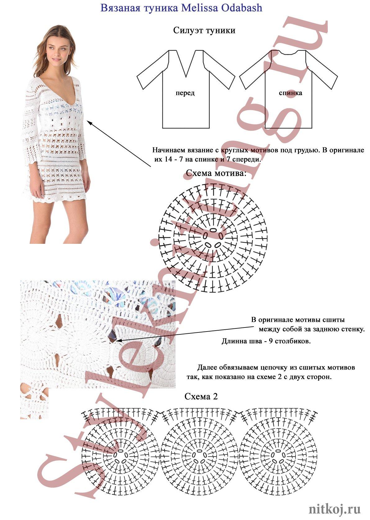 Пляжное платье крючком описание схема