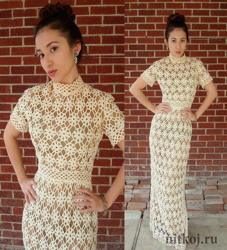 платье из цветочных мотивов ниткой вязаные вещи для вашего дома