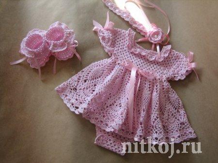 Платье на малышку 0-3 месяца