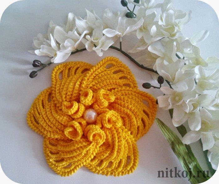 красивейший цветок крючком мастер класс ниткой вязаные вещи для