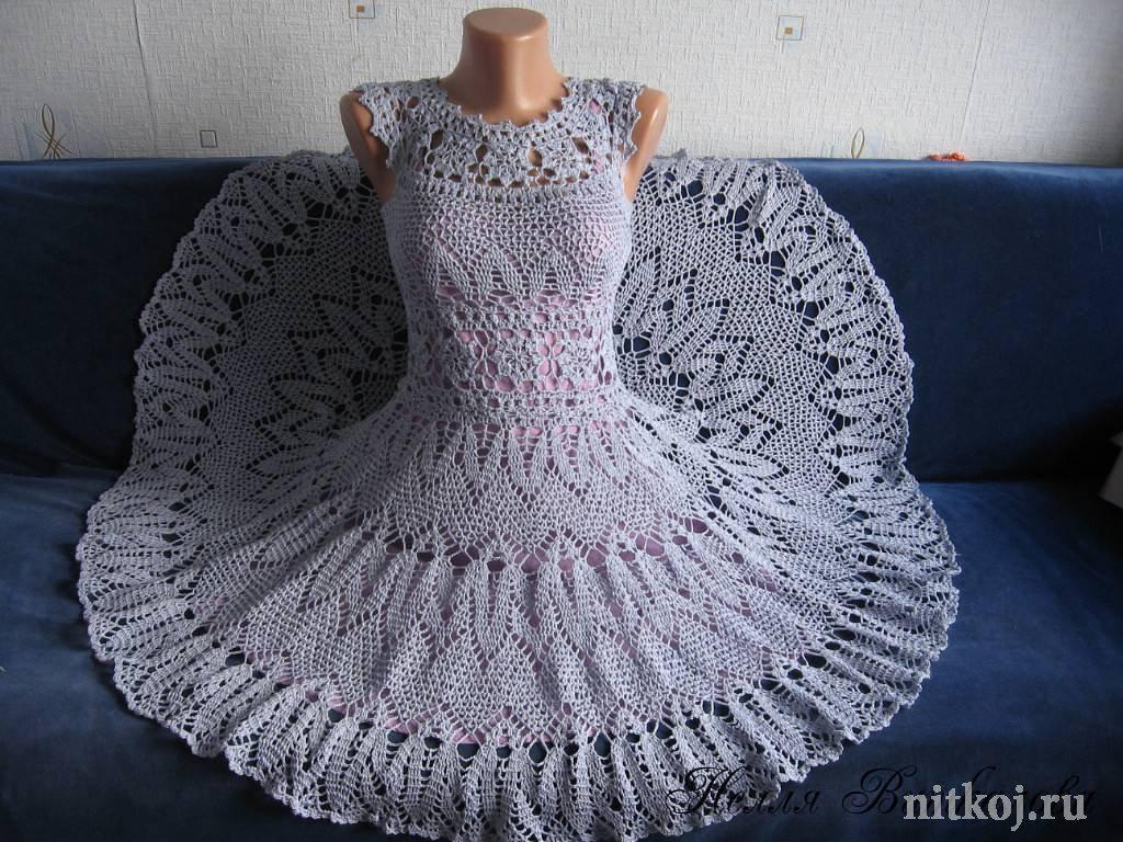 схема вязаное платье крючком для малышки ананасами