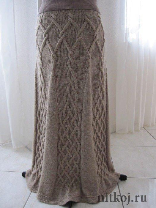 Вязание юбка с аранами