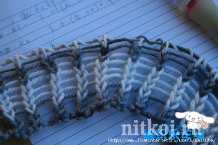 вязание ажурного узора спицами для кофты