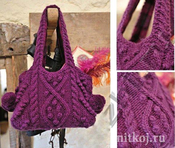 3b94aba403e9 Вязаная сумка спицами с шишечками » Ниткой - вязаные вещи для вашего ...