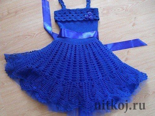 детское платье крючком от Tatimama ниткой вязаные вещи для