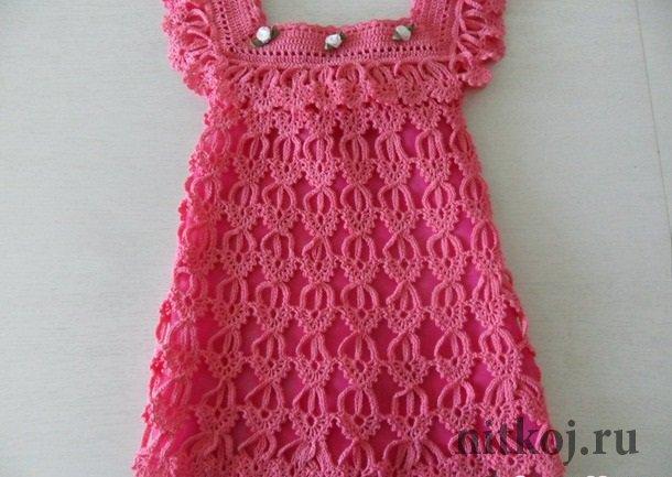 Платье детское вяжем на спицах