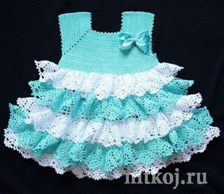 Бирюзовое с белым платье для девочки крючком