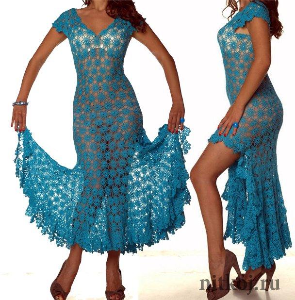 платье крючком из мотивов ниткой вязаные вещи для вашего дома