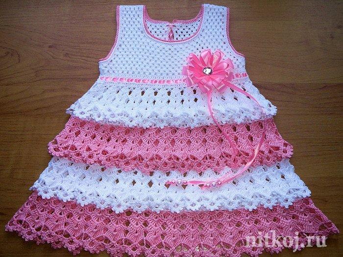 Схема вязаного платья на 8 месяцев