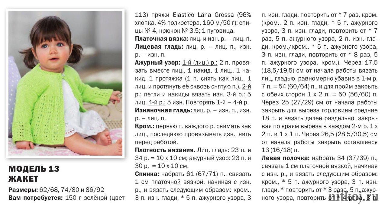 Схема вязания спицами кардигана для девочки 1-2 года 87