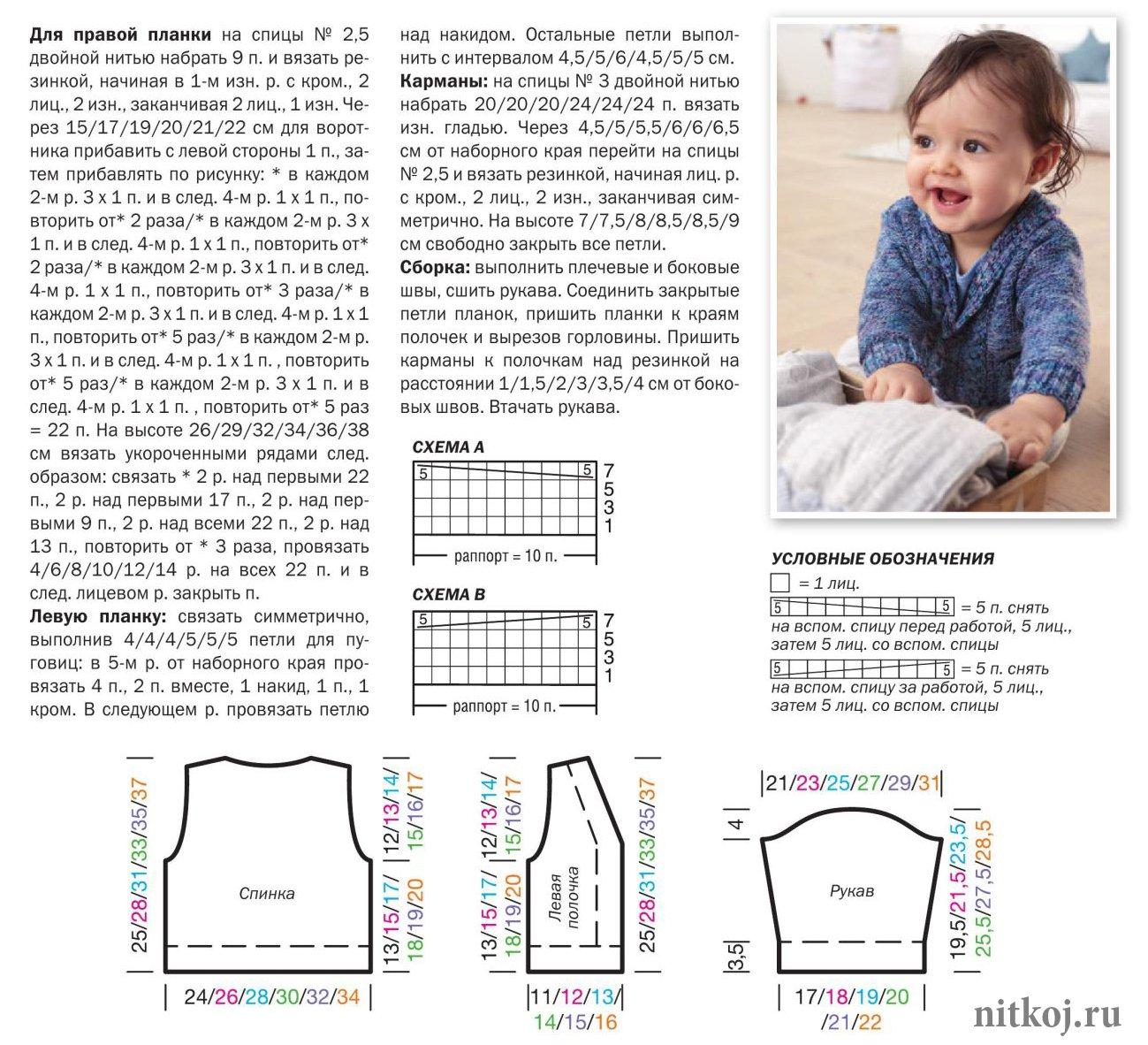 схемы вязания кардиганов для детей