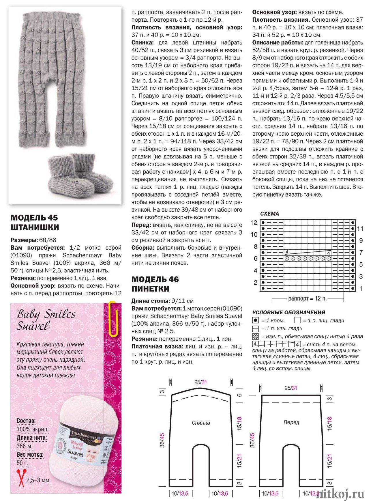 схема вязания детских штанишек спицами на 2.5 года