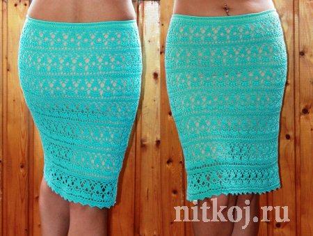 Бирюзовая юбка крючком от Дарьи Шафоростовой