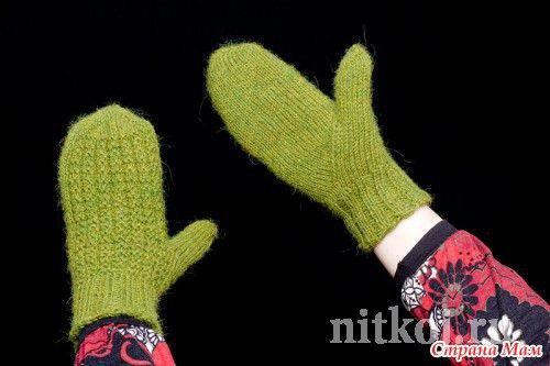 Вязание варежек с пальцем клином 88
