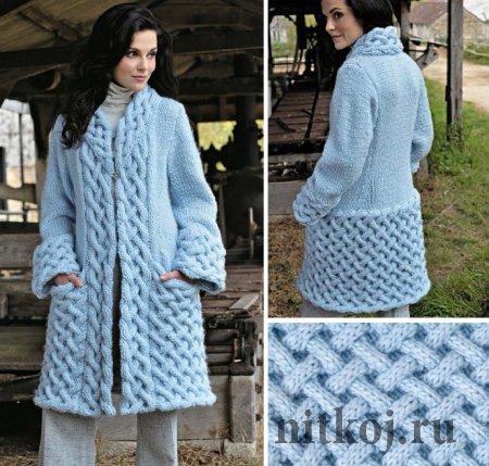 Вязаное пальто узором «Плетенка»