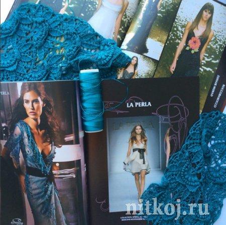 Платье крючком «Текстурный ананас», подборка схем