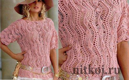 Вязание на вилке, летний пуловер