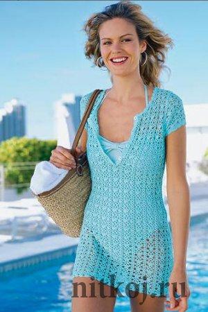 Пляжное платье крючком из кружева