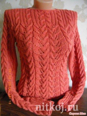 Пуловер спицами «Листья в косах»