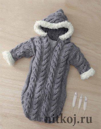 Конверт – спальный мешок спицами малышу