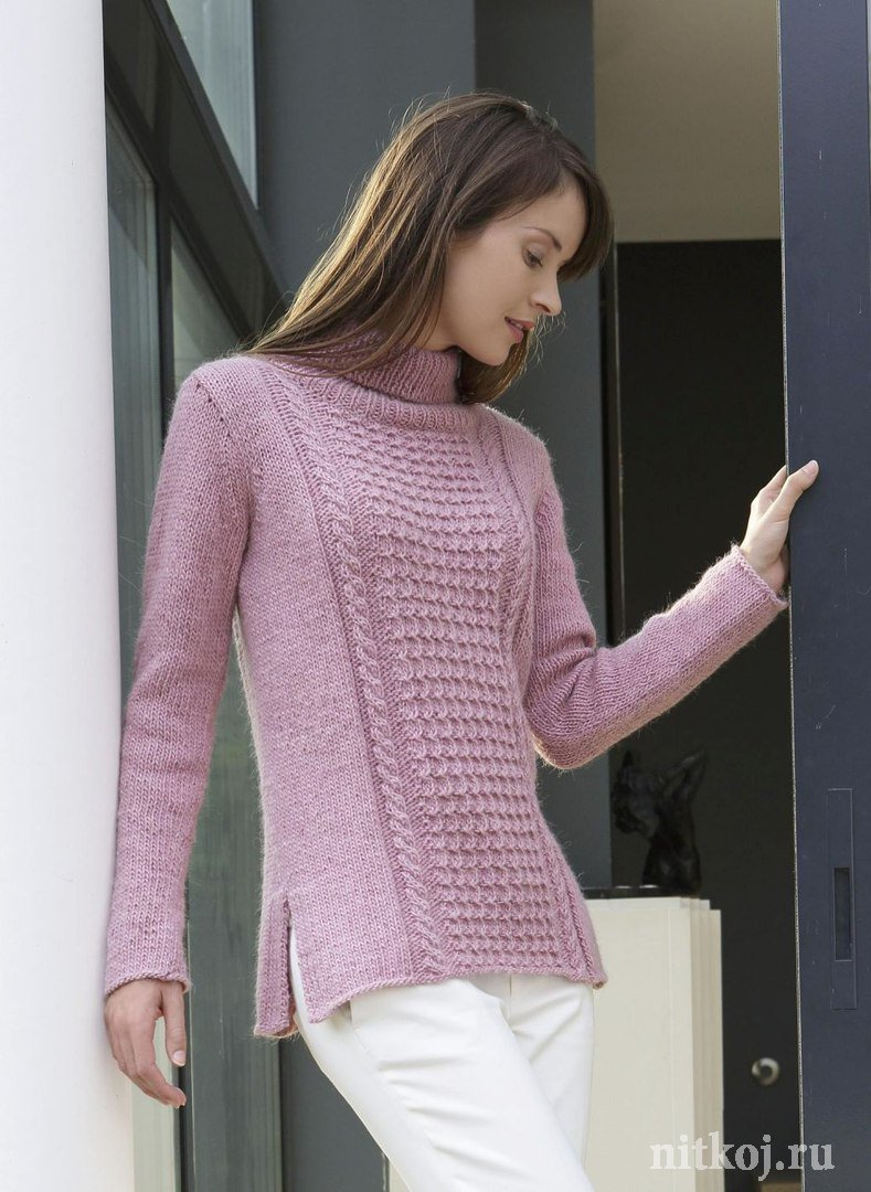 Пуловер С Кружевной Кокеткой