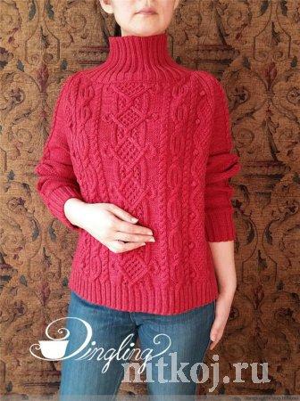 Красный арановый свитер