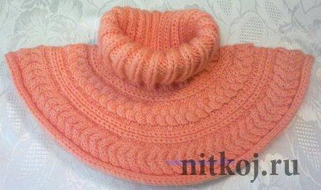 Манишка спицами «Розовая кув шинка»