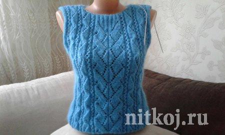 Пуловер «геометрия» спицами с имитацией вшивного рукава